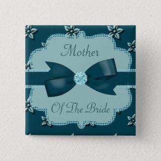 Teal Blue Island Flowers & Rhinestones Wedding 15 Cm Square Badge