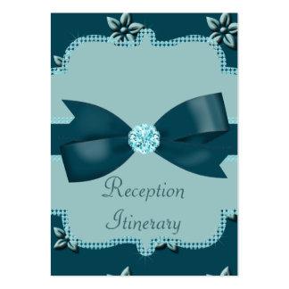 Teal Blue Island Flowers & Rhinestones Wedding Business Card Templates