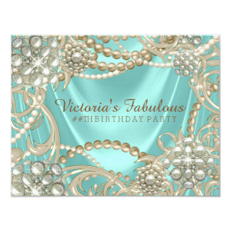 Teal Blue Ivory Pearl Birthday Party Card