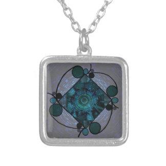 Teal Blue kaleidiscope design Square Pendant Necklace