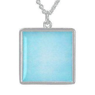 Teal Blue Light Watercolor Template Blank Sterling Silver Necklace