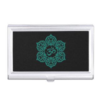 Teal Blue Lotus Flower Om on Black Business Card Cases