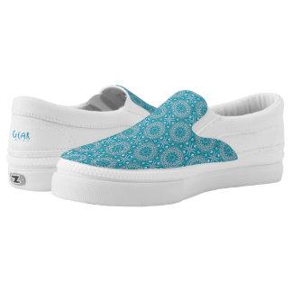 Teal & Blue Mandala Slip On Shoes Printed Shoes