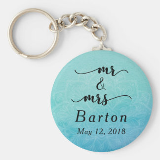 Teal & Blue Mandala Wedding Celebration Basic Round Button Key Ring