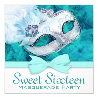 "Teal Blue Masquerade Party 5.25"" Square Invitation Card"