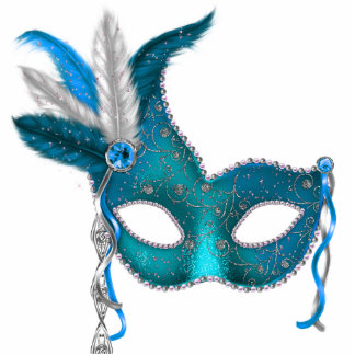 Teal Blue Masquerade Party Standing Photo Sculpture