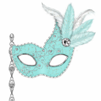 Teal Blue Masquerade Party Table Decorations Photo Cut Outs
