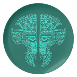 Teal Blue Mayan Twins Mask Illusion Dinner Plate