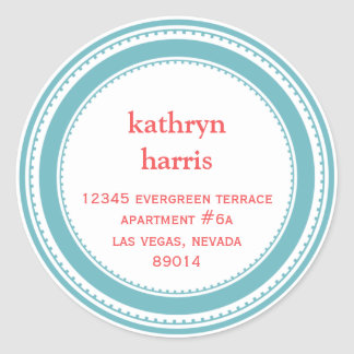 Teal blue medallion modern circle address label round sticker