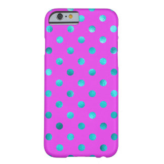 Teal Blue Metallic Faux Foil Polka Dot Purple Barely There iPhone 6 Case
