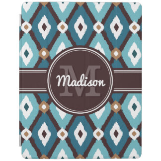 Teal Blue / Mocha Brown Boho Ikat Diamond Pattern iPad Cover
