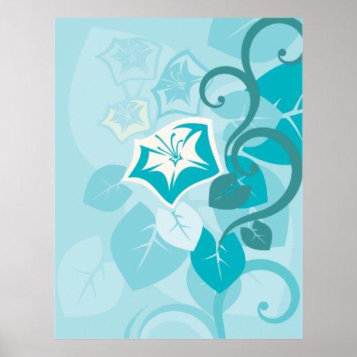 Teal Blue Modern Leaf Flower and Vine Posters