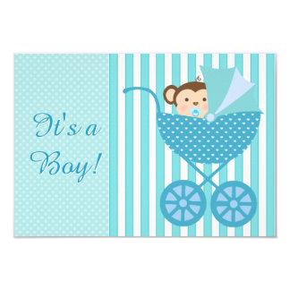 Teal Blue Monkey Baby Shower 9 Cm X 13 Cm Invitation Card