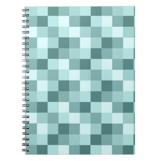 Teal Blue Monochrome Checkered Pattern Notebooks