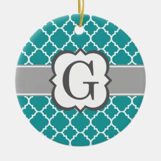 Teal Blue Monogram Letter G Quatrefoil Round Ceramic Decoration
