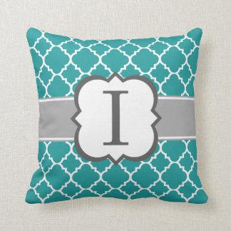Teal Blue Monogram Letter I Quatrefoil Throw Pillow