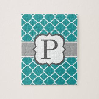 Teal Blue Monogram Letter P Quatrefoil Jigsaw Puzzle