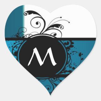 Teal blue monogram heart sticker
