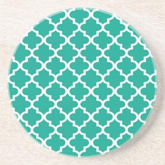 Teal blue Moroccan tile pattern geometric modern Coaster
