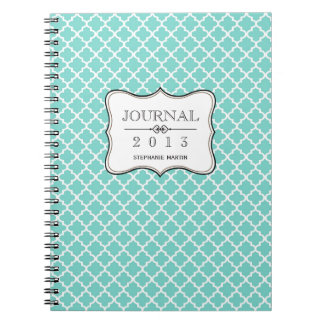 Teal blue Moroccan tile personalized journal Spiral Note Book