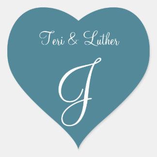 Teal Blue Names Initials Invitation Heart Sticker