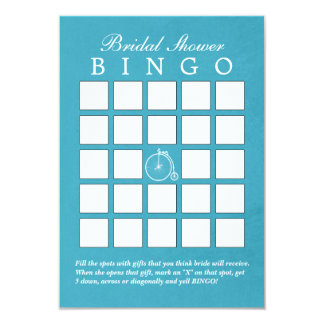 Teal Blue Old Bike Bridal Shower Bingo Cards
