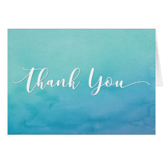 Teal & Blue Ombre Watercolor Thank You Note, 4 Card