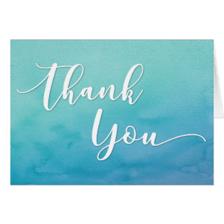 Teal & Blue Ombre Watercolor Thank You Note, 5 Card