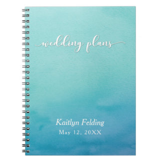 Teal & Blue Ombre Watercolor Wedding Planner Spiral Notebooks