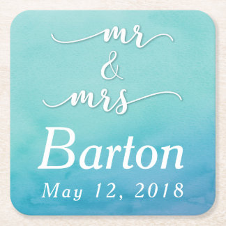 Teal & Blue Ombre Wedding Celebration Square Paper Coaster