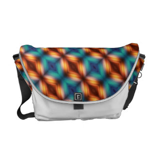Teal Blue Orange And Brown Rhombuses Courier Bag