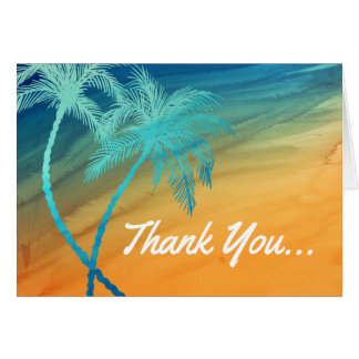 Teal Blue Orange Palm Tree Thank You Cards