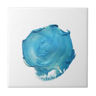 Teal Blue Paint Swirl Accent Tile