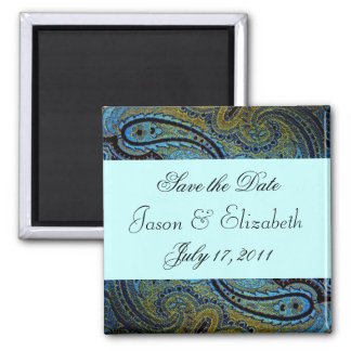 Teal Blue Paisley Peacock Wedding Invitations Magnet