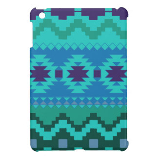 TEAL BLUE PATTERN, BLUE ABSTRACT AZTEC TURQUOISE iPad MINI CASE