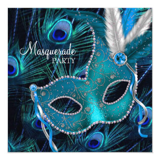 Teal Blue Peacock Mask Masquerade Party 13 Cm X 13 Cm Square Invitation Card