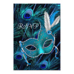 Teal Blue Peacock Mask Masquerade Party RSVP Personalised Invitation