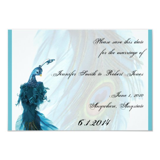 Teal Blue Peacock Plume Save the Date Card
