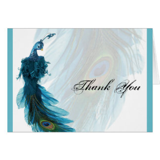 Teal Blue Peacock Plume Thank You Card