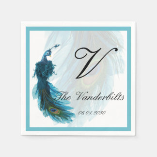 Teal Blue Peacock Plume Wedding Paper Napkin