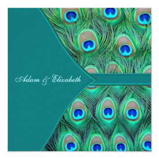 Teal Blue Peacock Wedding 13 Cm X 13 Cm Square Invitation Card