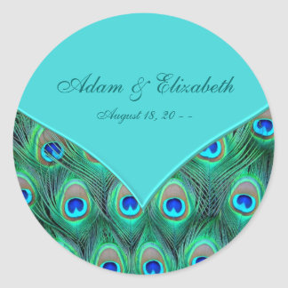 Teal Blue Peacock Wedding Favour Label Round Sticker