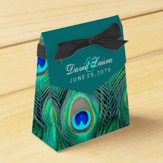 Teal Blue Peacock Wedding Party Favour Box