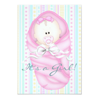 """Teal Blue Pink Baby Girl Shower Invitations 5"""" X 7"""" Invitation Card"""