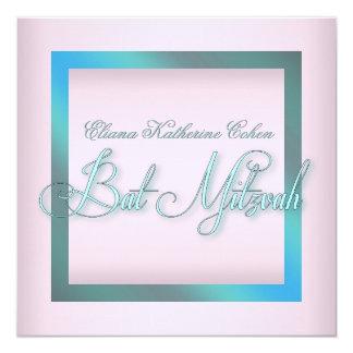 Teal Blue Pink Bat Mitzvah Invitations