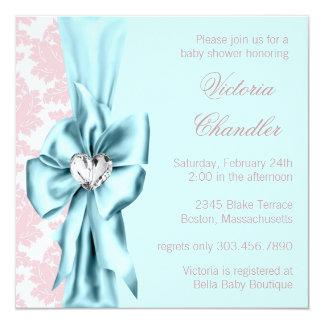 Teal Blue Pink Damask Bow Elegant Baby Girl Shower 13 Cm X 13 Cm Square Invitation Card