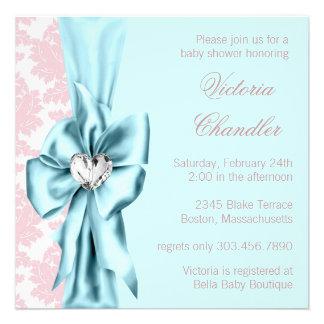 Teal Blue Pink Damask Bow Elegant Baby Girl Shower Custom Invites