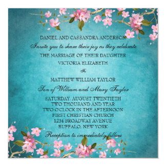 Teal Blue Pink Japanese Cherry Blossoms Wedding 13 Cm X 13 Cm Square Invitation Card