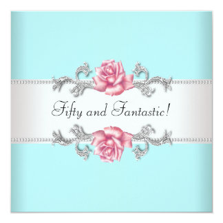 Teal Blue Pink Roses Womans 50th Birthday Party Card