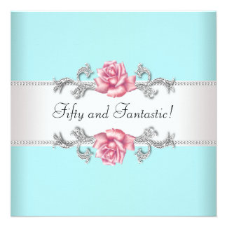Teal Blue Pink Roses Womans 50th Birthday Party Invite